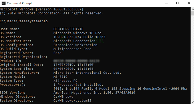 Systeminfo Command Prompt