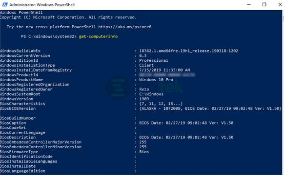 get-computerinfo Windows PowerShell
