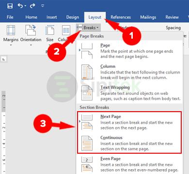 Section Breaks Microsoft Word