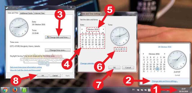 cara mengatur jam di laptop