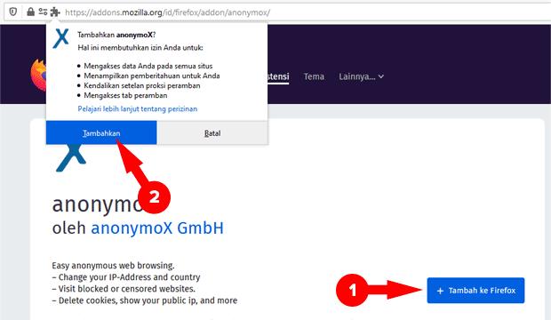 Memasang Anonymox Mozilla Firefox