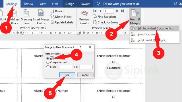Merge to New Document Word