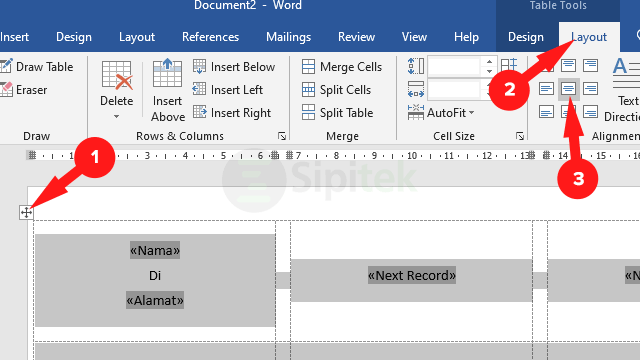 Table Layout Align Center Word