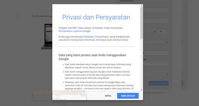 privasi dan persyaratan gmail
