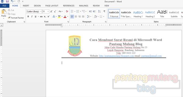 cara membuat kop surat menggunakan microsoft word 2013