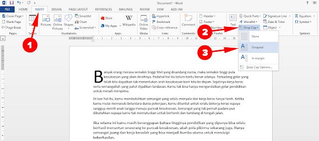 Cara membuat teks drop cap word