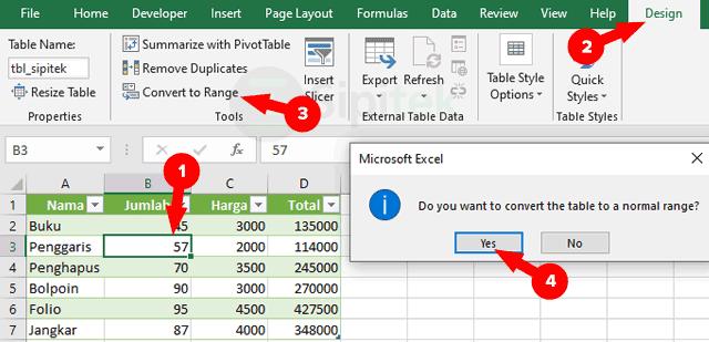 Convert to Range Table Excel