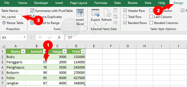 Design Table Name Excel