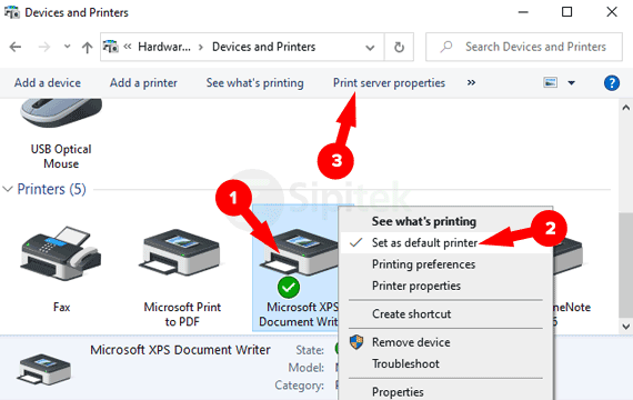 Devices and Printers Windows 10