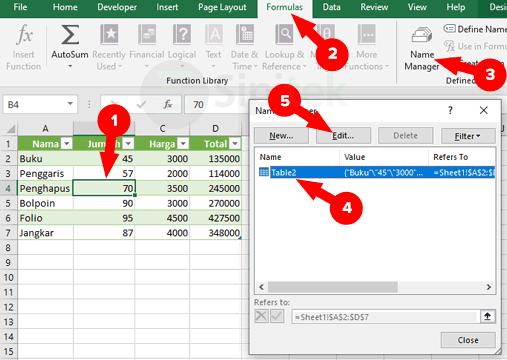 Formulas Name Manager Excel