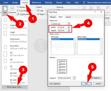 2 Cara Mengatur Ukuran Kertas F4 Di Word Excel Secara Permanen