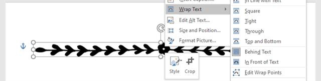 Wrap Text Gambar Garis Word