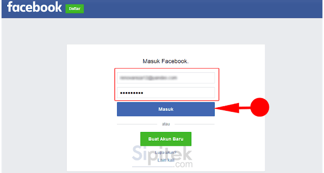 masuk ke facebook