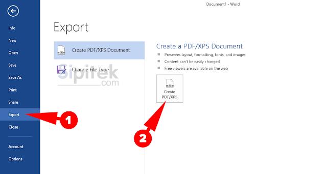 Create PDF/XPS