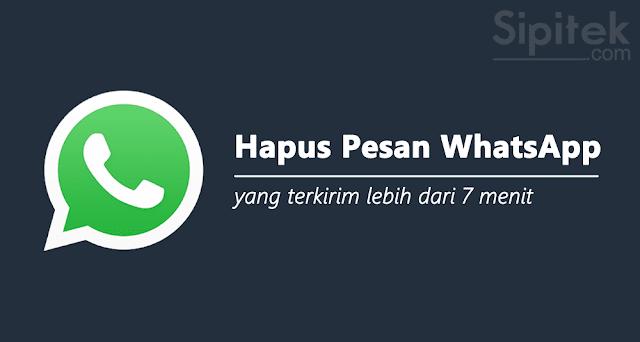 cara hapus pesan whatsapp terkirim lebih 7 menit