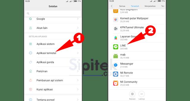 Pengaturan aplikasi LINE