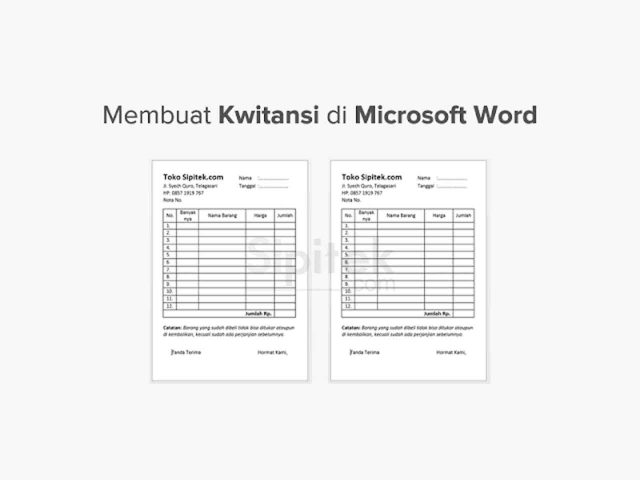 Cara Membuat Kwitansi Sendiri Dengan Microsoft Word