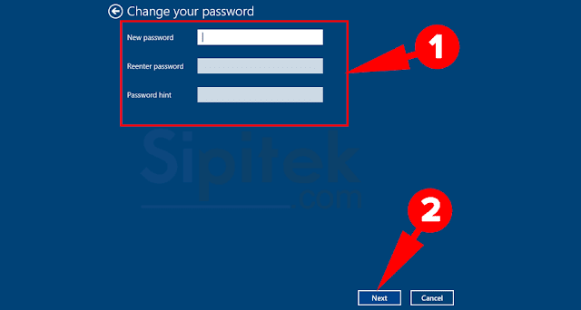 kosongkan password baru