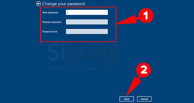 kosongkan password baru
