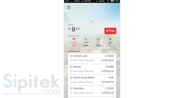 rincian kuota di aplikasi MyTelkomsel
