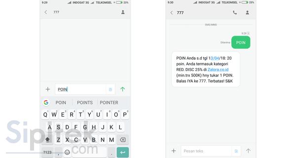 cek poin melalui SMS