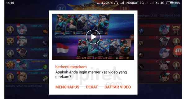 cara menyimpan video replay mobile legends