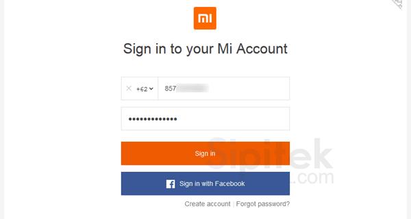 masuk ke situs Mi Cloud