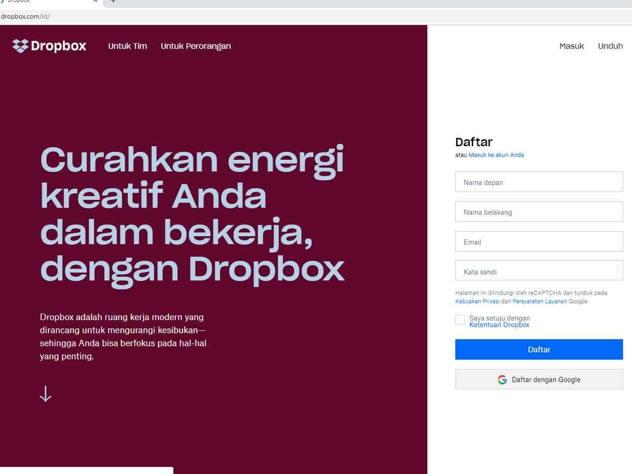 Cara Membuat Akun Dropbox Di Android Dan Pc