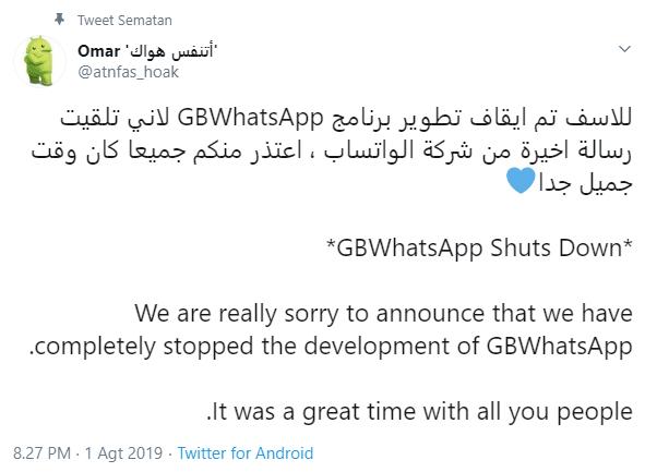 Pengembangan GBWhatsApp dihentikan