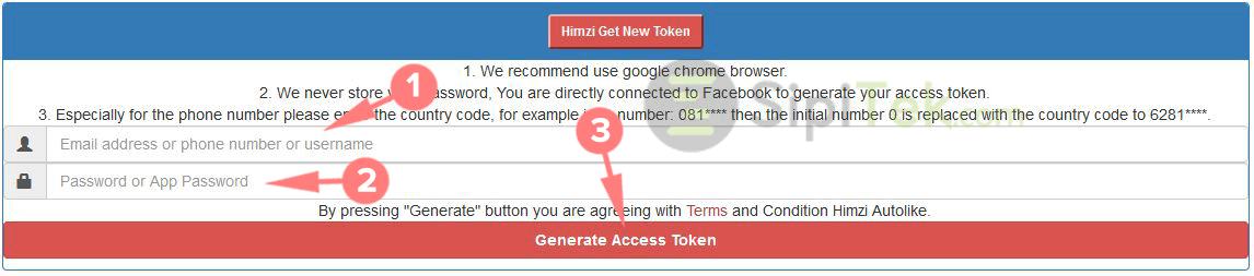 generate access token himzi autolike