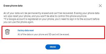 find my mobile samsung erase