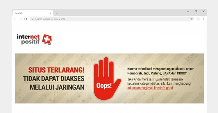 situs yang diblokir internet positif di google chrome