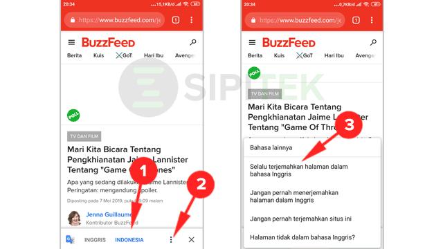 1 cara menerjemahkan halaman web di android