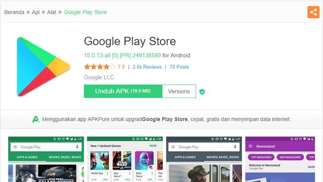 cara update play store