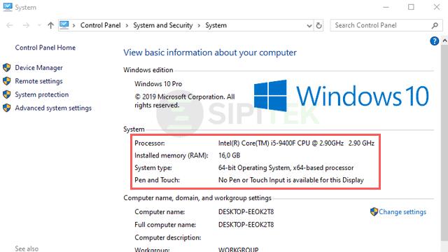 cara cek Windows 10 32-bit atau 64-bit