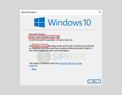 cara cek versi dan build windows 10