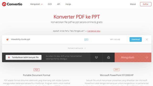 Cara Mengubah PDF ke PPT secara Online Melalui Convertio
