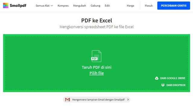 Cara Mengubah PDF ke Excel Tanpa Software melalui Smallpdf