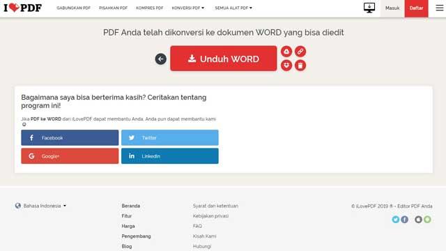 Cara Convert PDF ke Word dengan iLovePDF