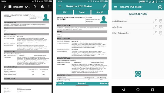 Resume PDF Maker CV Builder