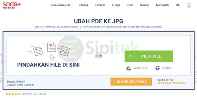 Mengubah PDF ke JPG melalui Soda PDF